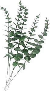 Tinsow 5 Pcs Real Touch Leaf Artificial Eucalyptus Stem Faux Eucalyptuses Wedding Bouquet Centerpiece Home Decor (Green)
