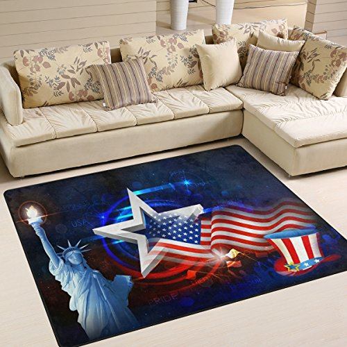Multicolor American Flag 4th of July Independence Memorial Day Patriotic Freedom Statue of Liberty Stars Area Rug Pad Non-Slip Kitchen Floor Mat for Living Room Bedroom 5'x7' Doormats Home Decor