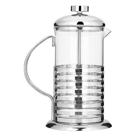 600ml/800ml Cafetera de Acero Inoxidable y Vidrio Cafeteras Francesa de Émbolo Filtro Presión de Mano para Café Té Socialme-eu(800ML)