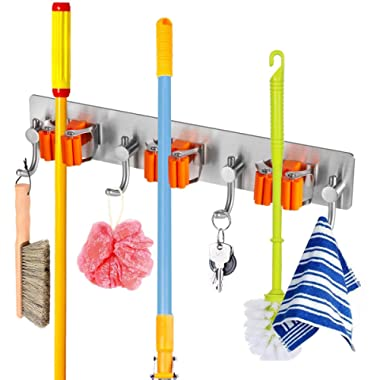Broom and Mop Holder with Storage Hooks Wall Mounted No Drill 3m Self Adhesive Tool Organizer Stainless-Steel Base Anti Slip Silicone Handle Gripper for Home, Kitchen, Garden, Garage Storage Systems