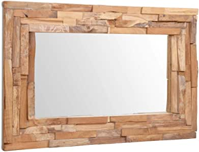 ROMELAREU Espejo Decorativo de Teca 90x60 cm rectangularCasa y ...