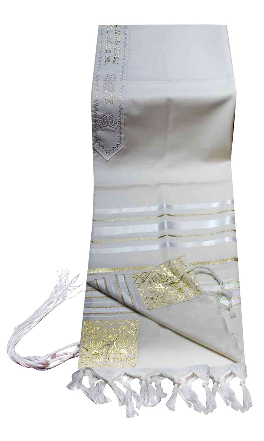 Talitnia Virgin Wool Tallit Prayer Shawl White and Gold Stripes in Size 42'' Long and 64'' Wide