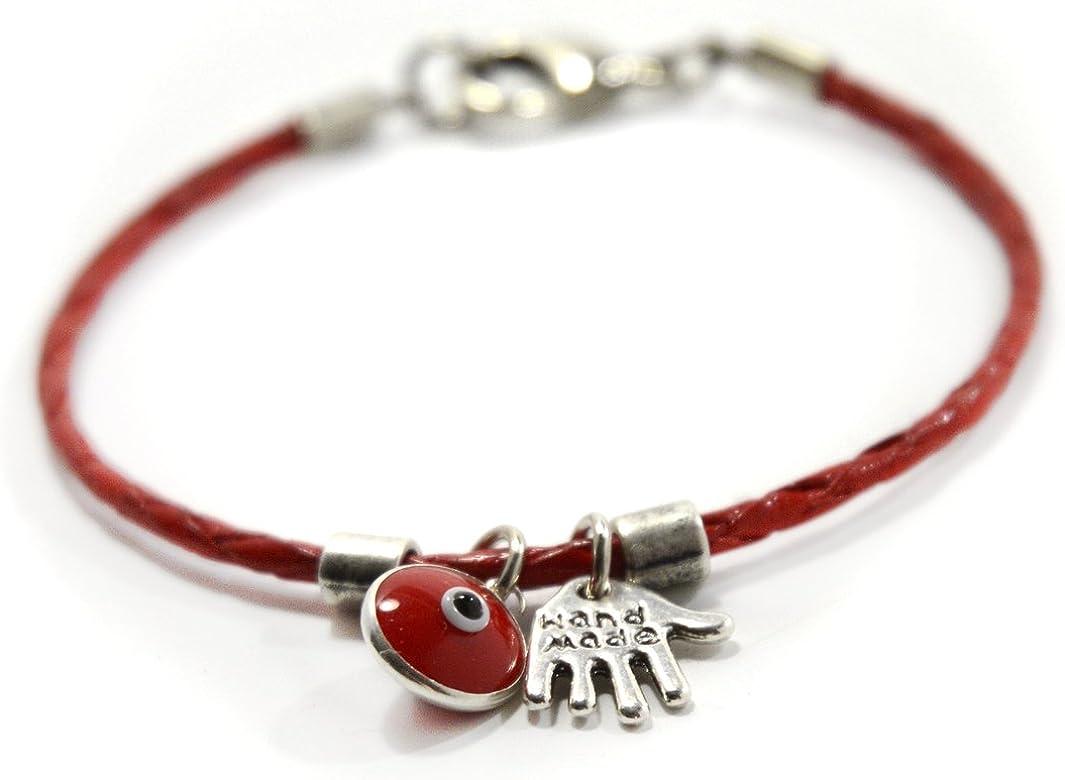 Pulsera para mujer de cuero rojo con jamsa y amuletos contra el ...