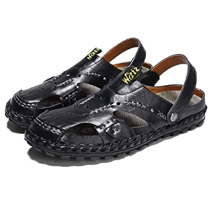 Men Casual Leather Slip On Sandal Slipper Shoes Closed Toe Beach Outdoor Garden