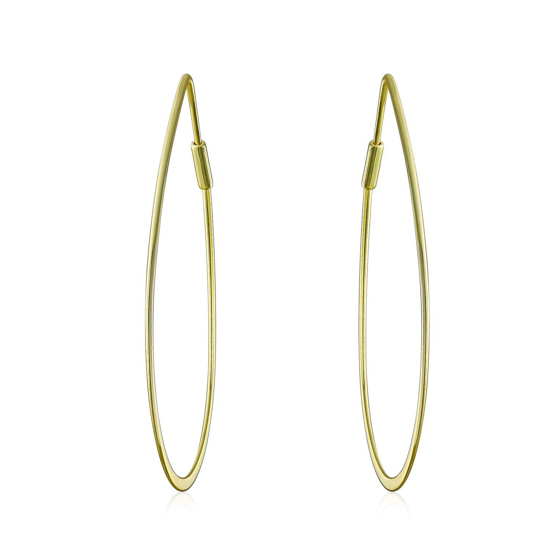 c8de489dd Amazon.com: Minimalist Open Tear Shaped Oval Tube Endless Big Hoop Earrings  For Women 14K 925 Sterling Silver 1.75 Inch: Jewelry