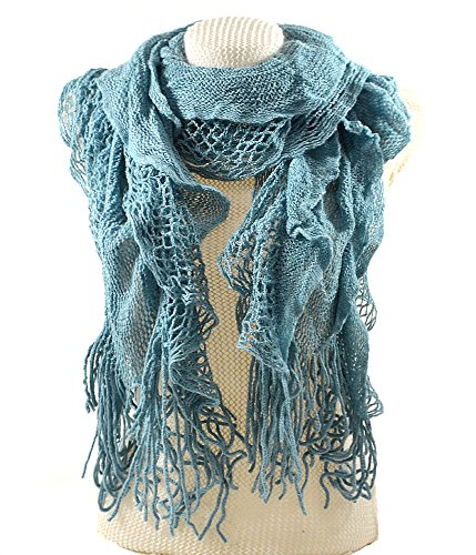 (Purse babe Womens Net Chain Knitted Chunky Curly Scarf shawl With Lace And Fringe)