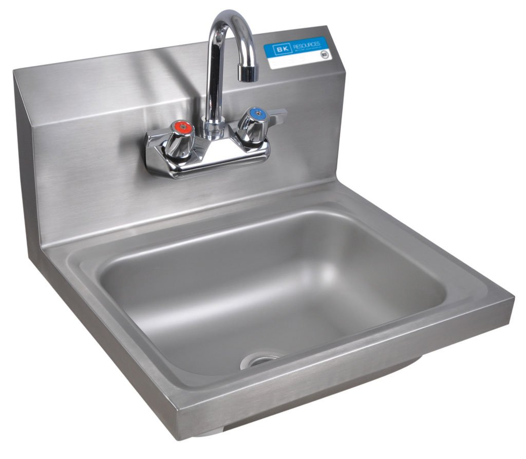 BK Resources BKHS-W-1410-P-G Wall Mount Stainless Steel Hand Sink with 4'' On Center Splash Mount 3.5'' Gooseneck Faucet, 14'' Wide x 10'' Front-to-Back x 5'' Deep Bowl