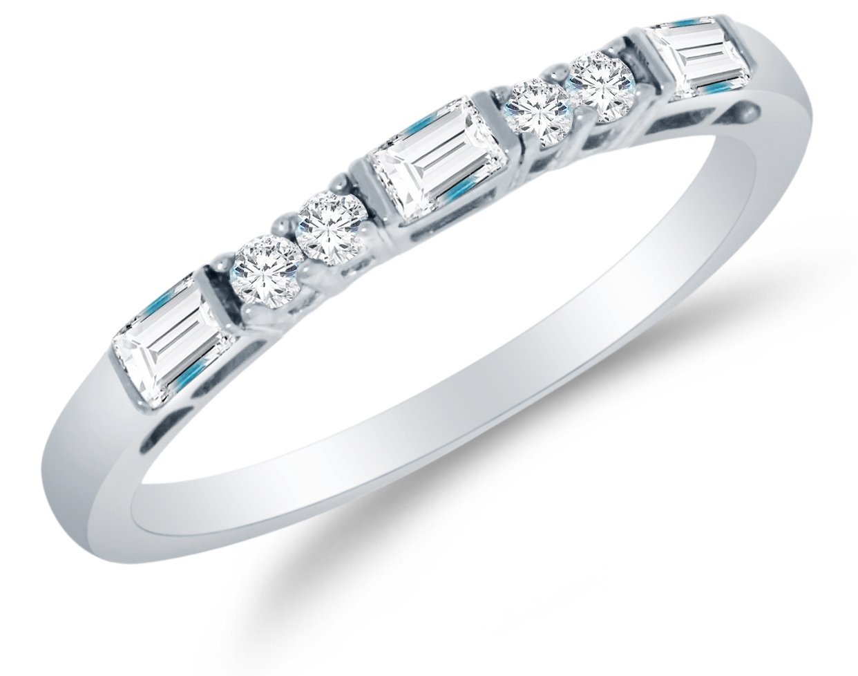 Size 8 - Solid 14K White Gold Round Brilliant Cut & Baguette Highest Quality CZ Cubic Zirconia Ladies Womens Wedding Band or Anniversary Ring 1/2 cttw.