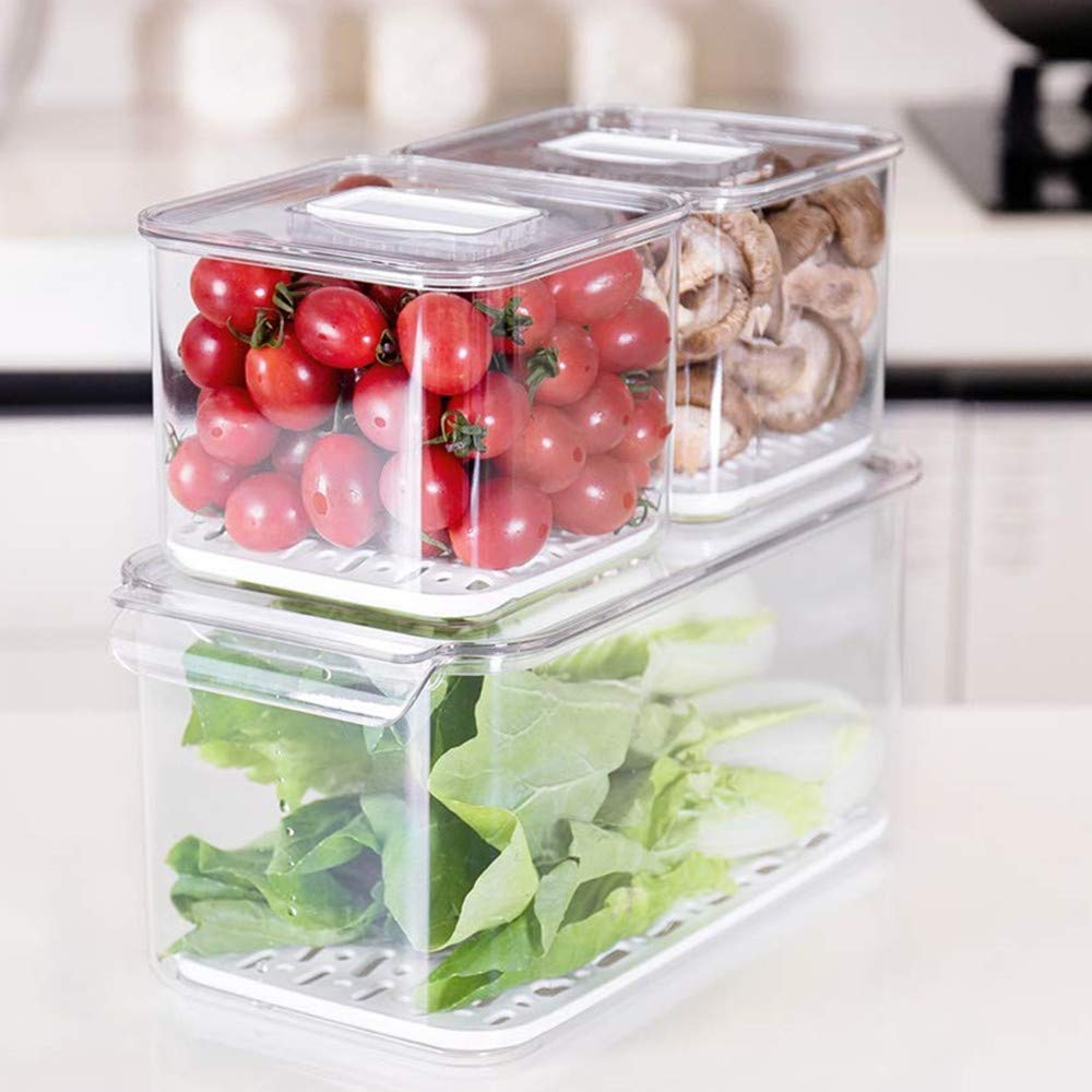 SANNO Fridge Food Storage Containers Produce Saver - Stackable Refrigerator Kitchen Organizer Keeper, Food Storage Container Bin, with Removable Drain Tray to Keep Fresh - Set of 3