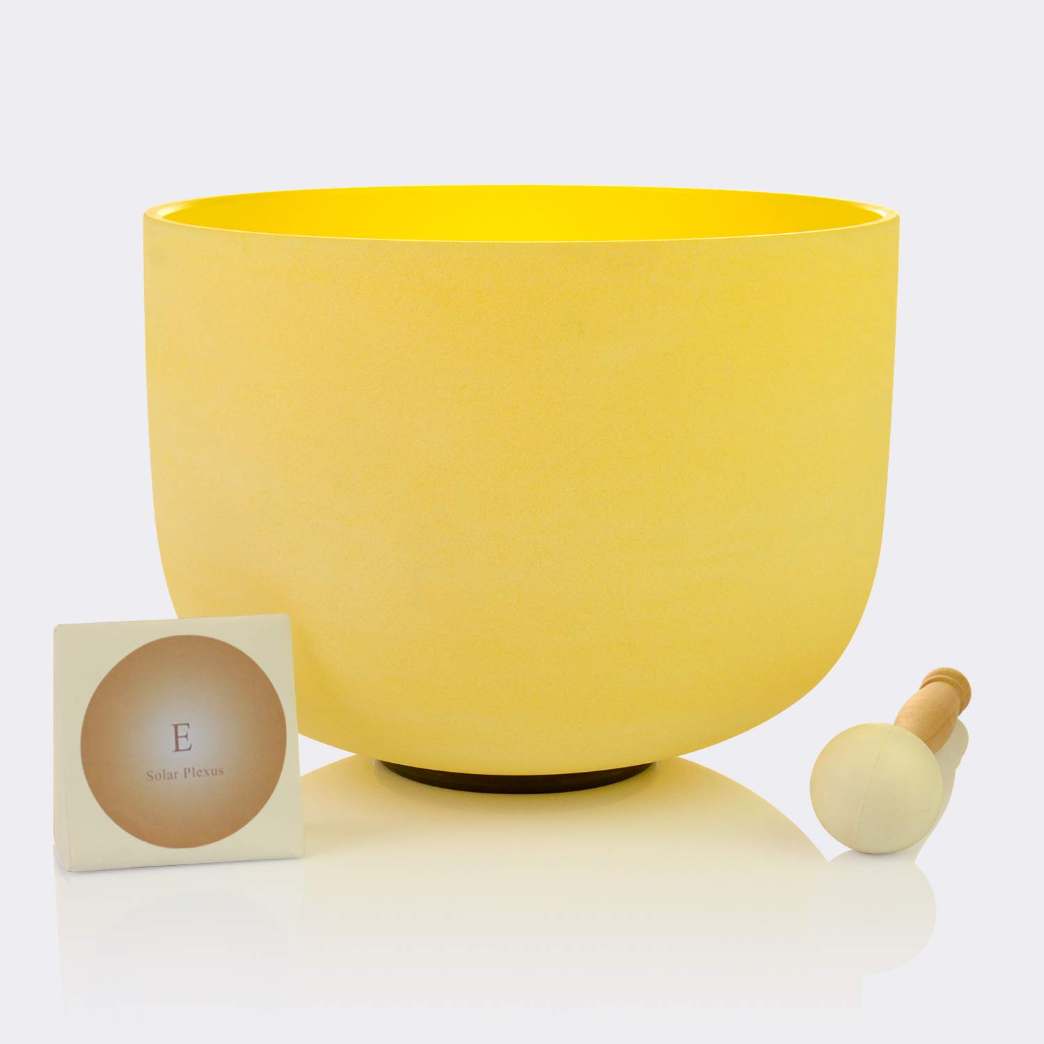 TOPFUND Quartz Crystal Singing Bowl Yellow Color E Note Solar Plexus Chakra 10 inch, O ring and rubber mallet Included