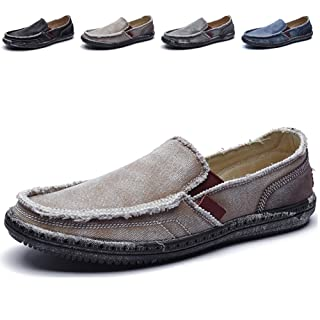CASMAG Men's Casual Cloth Shoes Canvas Slip-on Loafers Boat Shoes Men Outdoor Leisure Walking Khaki 12 M US