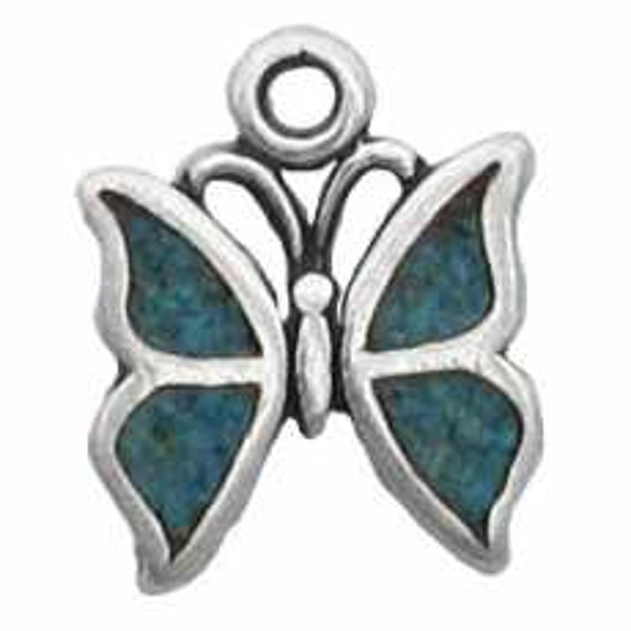 Sterling Silver Charm Bracelet Attached Mini Butterfly Simulated Blue Turquoise Chips Inlay Charm