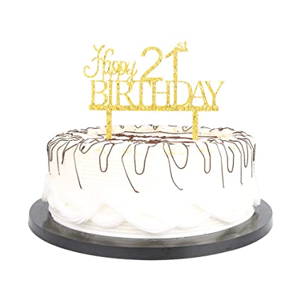 YUINYO Crown Gold Glitter Happy 21th Birthday Cake Topper