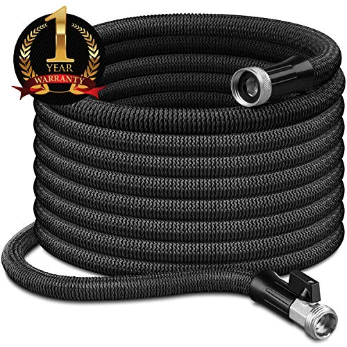 InGarden 100ft Expandable Garden Hose – Lightweight Kink Free Flexible Water Hose with Double Latex Core, 3/4″ Solid Brass Rust-Proof Fittings, Extra Strength Fabric, with Storage Bag