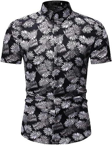VJGOAL Camisa Hawaiana de los Hombres de Moda con Estampado ...