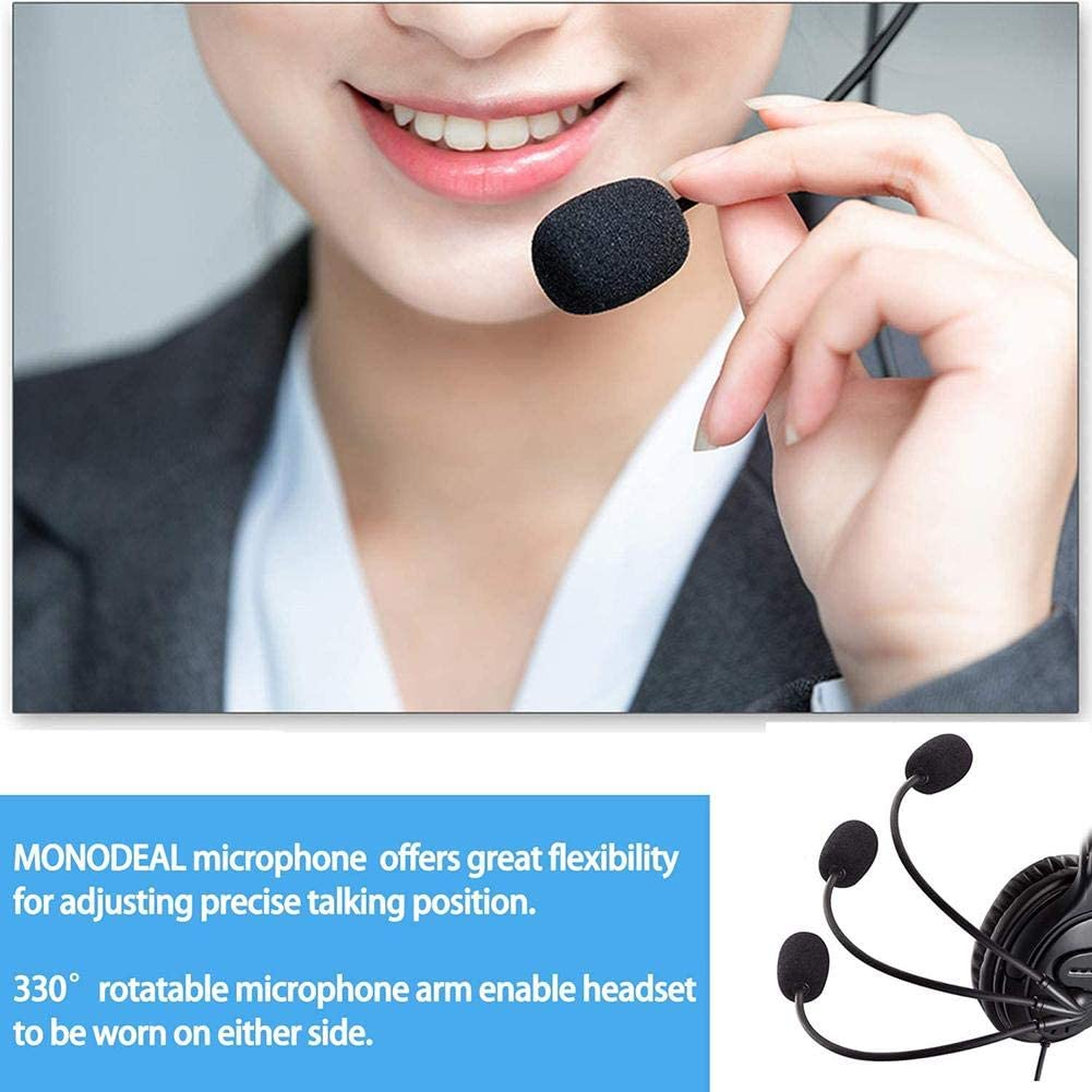 Red-eye USB Computer Headset Webinar Lightweight Comfortable Heaphone Earphone with Microphone Noise Cancelling Call Center Headset for Skype Cell Phone, Office Computer Headphone