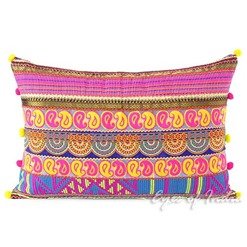 Eyes of India 16 X 24 Pink Embroidered Long Bolster Lumbar Colorful Decorative Sofa Throw Couch Pillow Cushion Cover Bohemian Boho Indian Pink Fringe Pillow