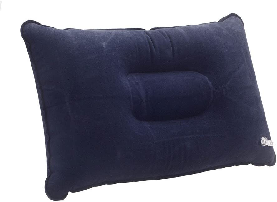 Double Sided Flocking Inflatable Pillow Suede Fabric Cushion Camping Travel Outdoor Office Plane Hotel Portable Folding Dark Blue