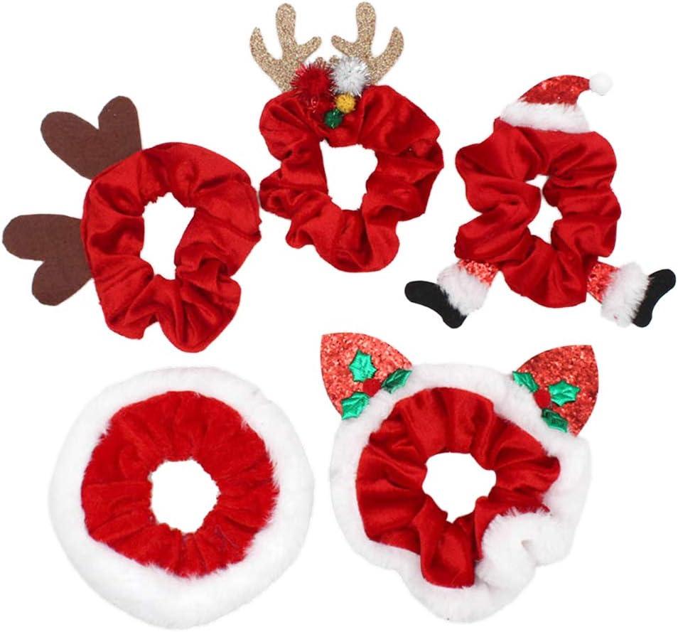 Desire Sky 5pcs Navidad Scrunchies para mujeres niñas bandas elásticas de goma para el pelo adornos de Navidad anillo de pelo titular de cola de caballo diadema
