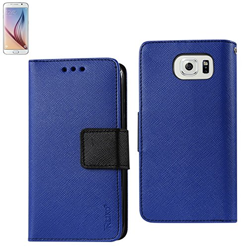 Reiko 3 in 1 Wallet Case with Interior Polymer for Samsung Galaxy S6 - Retail Packaging - Navy