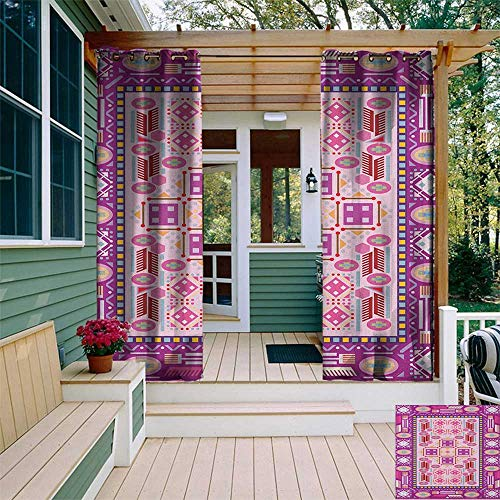 leinuoyi Afghan, Outdoor Curtain Set of 2 Panels, Traditional Oriental Design with Simplistic Geometric Shapes Eastern Culture Motif, Set for Patio Waterproof W120 x L96 Inch Multicolor