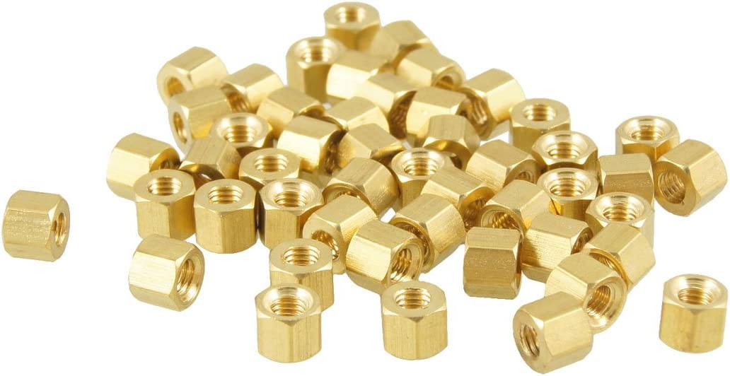 Aexit 50 Pcs Tube Fittings M3X4mm Gold Tone Hexagonal Female Thread Microbore Tubing Connectors Standoff Spacers