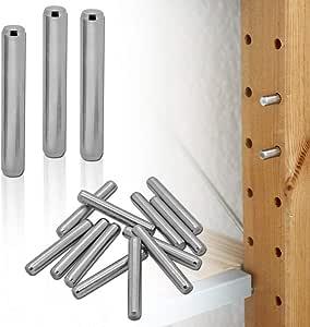 tumundo Soporte de Estante para IKEA Ivar Muebles Alfileres Clavijas Soporte Metal Set Kit Acero Inoxidable 4-48 Piezas Ø 6mm, Piezas:12 Piezas