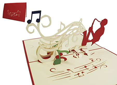 Lin Pop Up Birthday Cards Voucher Music Concert Saxophone