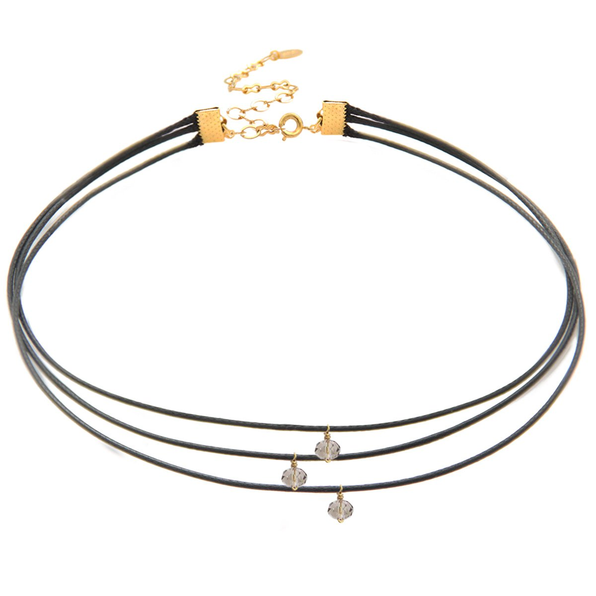 Length: 12 13 with 4 extender Stone Size: 4mm Choker Necklace Three Strand Black Waxed Cotton Cord and Smoky Crystal Choker  18K Gold Plated Closure 12.5