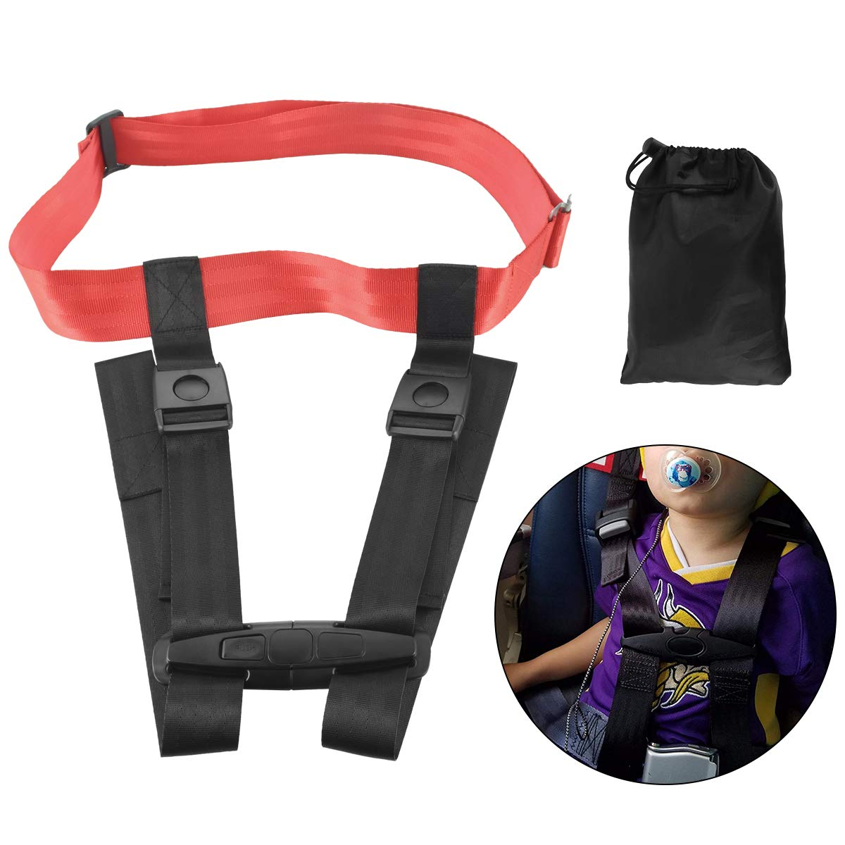Ansblue Child Safety Harness Airplane Travel Clip Strap with Carry Pouch Bag.The Travel Harness Safety System Will Protect Your Child from Dangerous - 1pcs by Ansblue (Image #1)