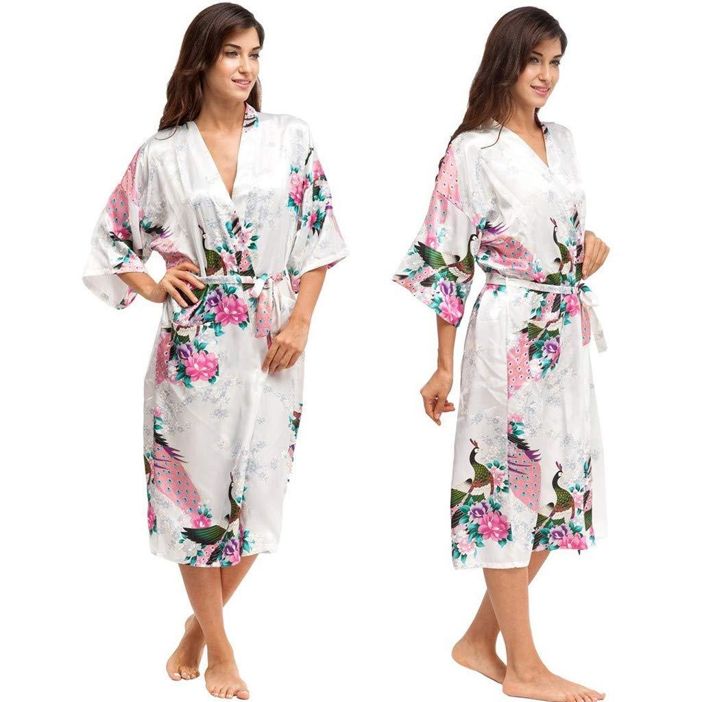 Severkill Women Peacock /& Blossoms Satin Robe Bridal Dressing Gown Wedding Bride Bridesmaid Kimono Sleepwear