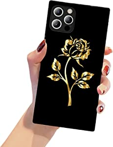 HDTST Square Edge iPhone 12 Pro Max Case,Gold Rose iPhone 12 Pro Max Cases for Women Girls,Fashion Pattern Hard PC Back+Soft Silicone TPU Shock Protective Case for iPhone 12 Pro Max(6.7 inch)