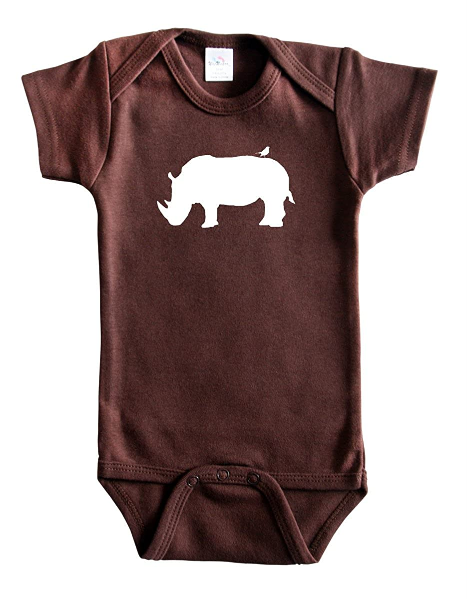 Safari Animal Silhouette Baby Bodysuit-Rhino