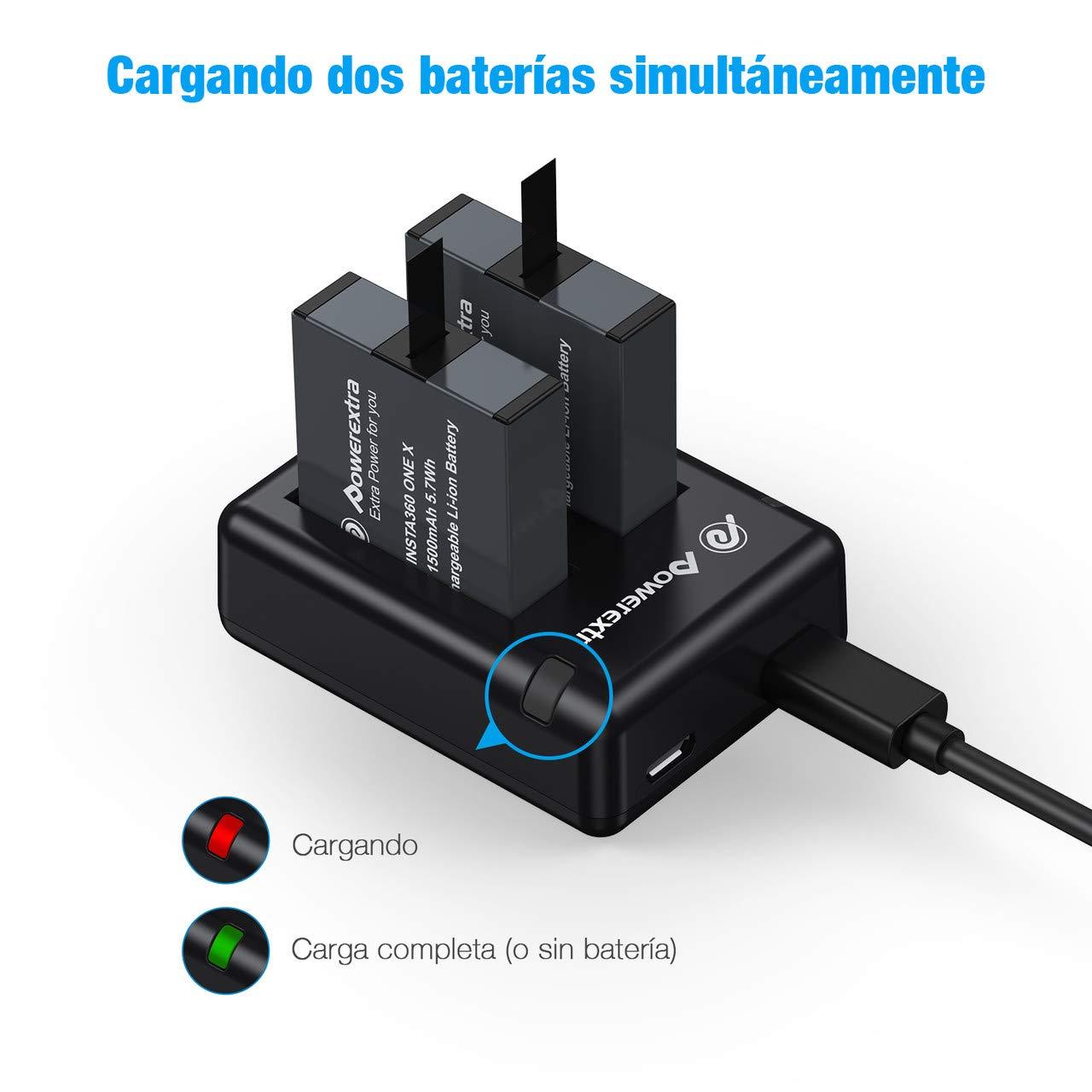 Powerextra Batería para Insta360 One X con Cargador Doble para Micro USB portátil Insta360 One X Cámara de Acción