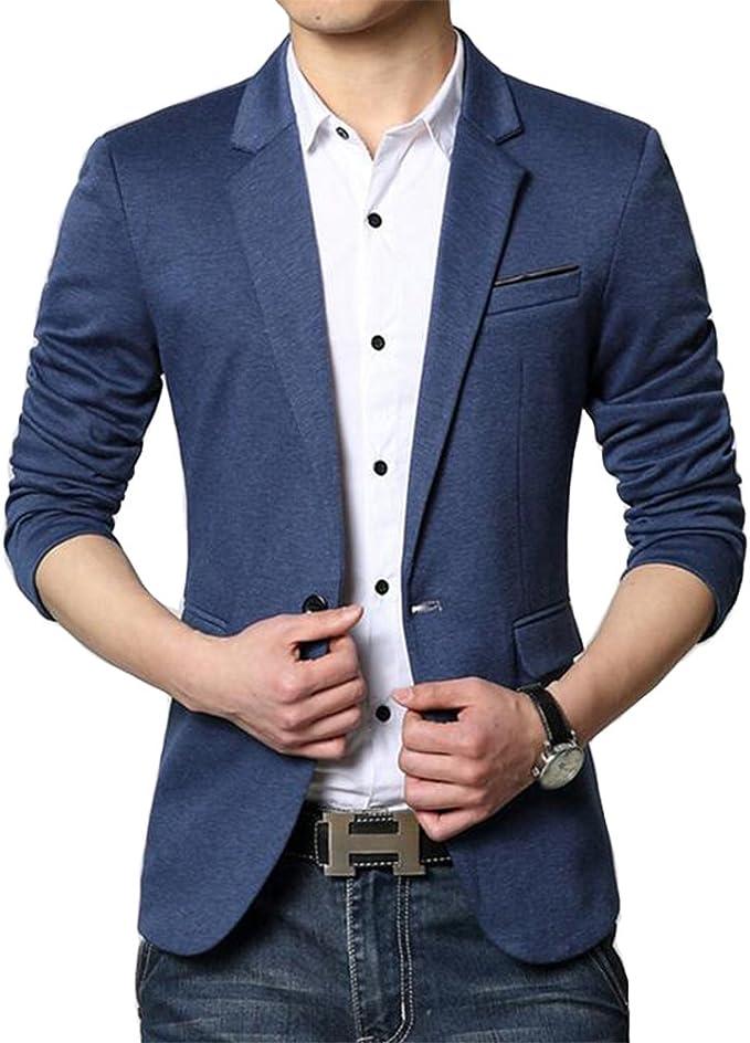 casual blue slim-fit blazer