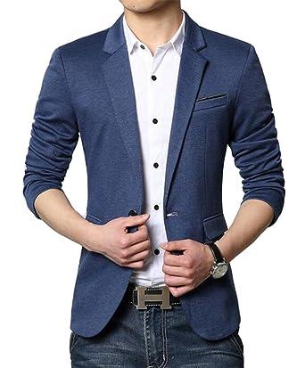 c0299b586b5985 Herren Premium Lässig Slim Fit Ein Knopf Blazer Anzugjacke Sakko:  Amazon.de: Bekleidung