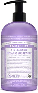 product image for Dr. Bronner's - Organic Sugar Soap (Lavender, 24 Ounce) - Made with Organic Oils, Sugar and Shikakai Powder, 4-in-1 Uses: Hands, Body, Face and Hair, Cleanses, Moisturizes and Nourishes, Vegan