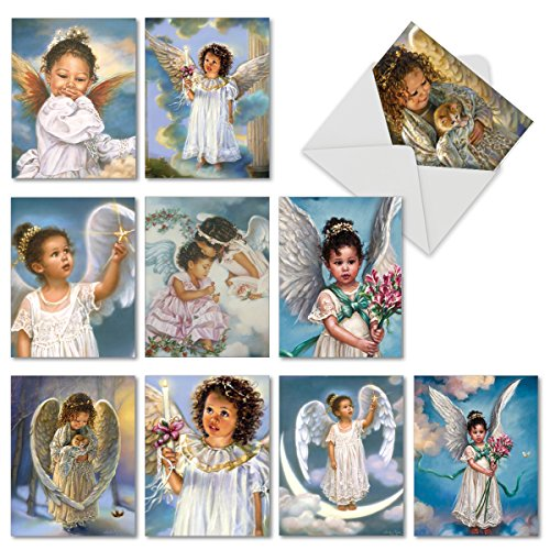 (10 Sweet 'Little Angels' Thank You Cards with Envelopes 4 x 5.12 inch, Children of Color as Angels in Clouds, Heavenly Boxed Thank You Note Cards, Bulk Set of Angelic Greeting Cards M6549TYG)