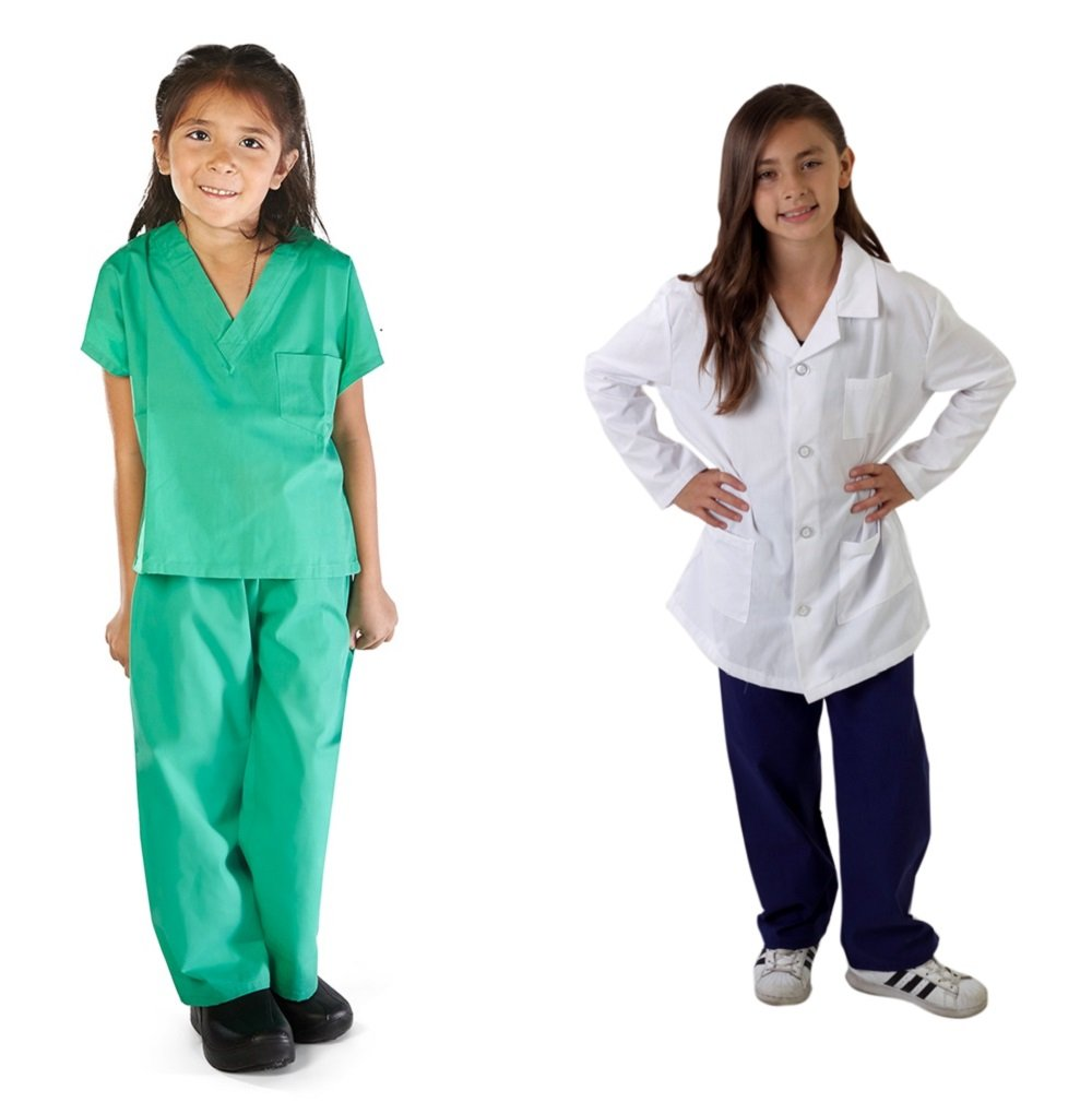 M&M SCRUBS Super Soft Children Scrub Set and Lab Coat Combo Kids Doctor Dress up (4, Surgical Green Set and White Lab Coat)
