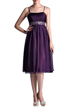 ca92537fd3ef7 Adorona Empire Juniors Bridesmaids Beaded A-line Tea Length Chiffon Modest Bridesmaid  Dress, Color
