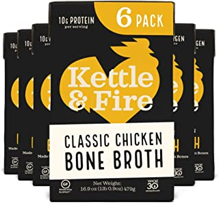 product image for Chicken Bone Broth Soup by Kettle and Fire, Pack of 6, Keto Diet, Paleo Friendly, Whole 30 Approved, Gluten Free, with Collagen, 10g of protein, 16.9 fl oz