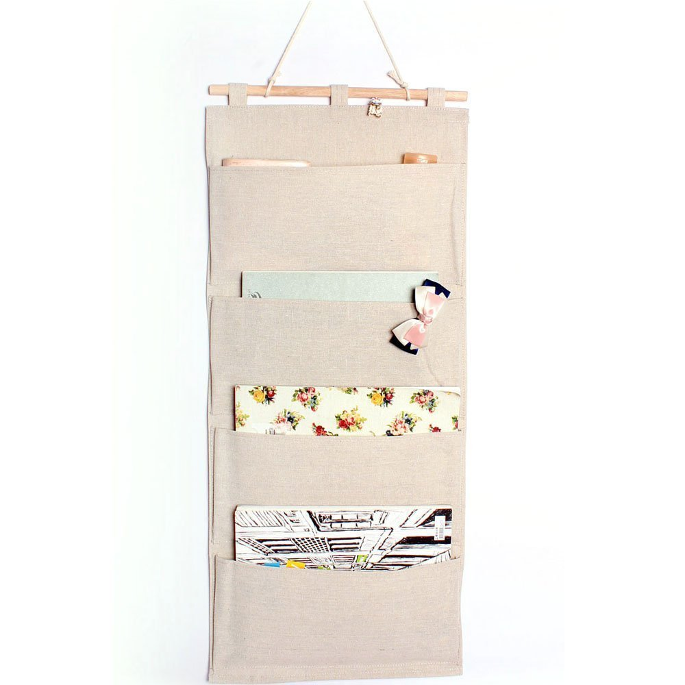 Linen/Cotton Fabric Wall Door Closet Hanging Storage Bag Books Organizational Back to School Office Bedroom kitchen rectangle 4 Pocket Home Organizer Gift ,13.8