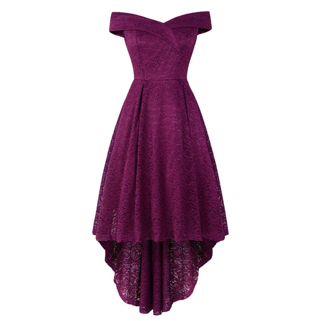 Sttech1 Women's Double V-neck Strapless Slim Cocktail High Low Lace Dress