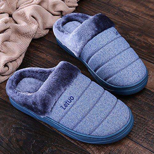 ICEGREY Herren Mode Strickte Warme Hausschuhe Gemütliche Plüsch Fleece Gefüttert Slip auf Wärmehausschuhe Plüsch Pantoffeln Tiefes Blau 42 43