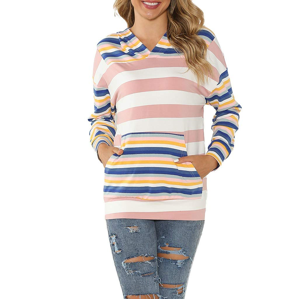 HAALIFE◕‿ Womens Casual Striped Color Block Long Sleeve Knit Drawstring Hooded Pullover Sweatshirt Blue by HAALIFE Women's Clothing