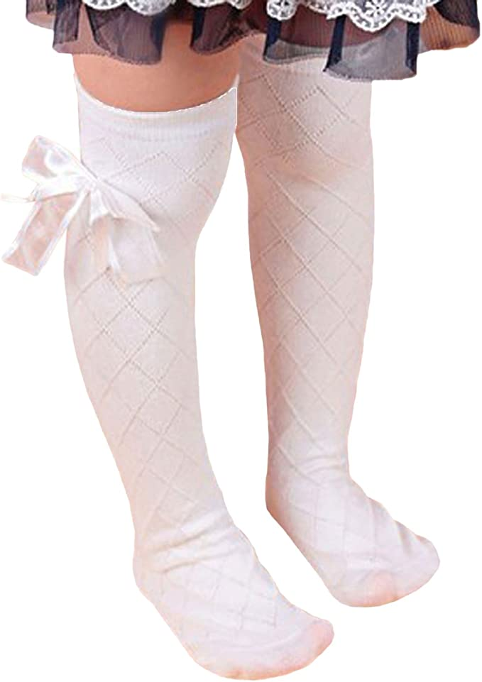 Bluelans/® Girls Kids Soft Cotton Striped Knee High Socks with Lovely Bow Decor