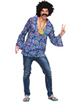 (XL) X Large Mens Funky Hippie Shirt Costume for 60s 70s Fancy Dress Outfit
