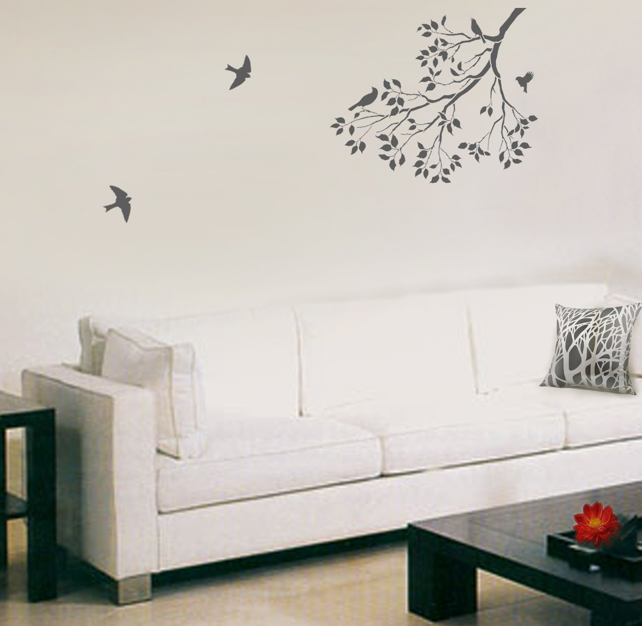 Wall stencil spring songbirds reusable stencils better than wall stencil spring songbirds reusable stencils better than decals diy decor tools products amazon amipublicfo Images