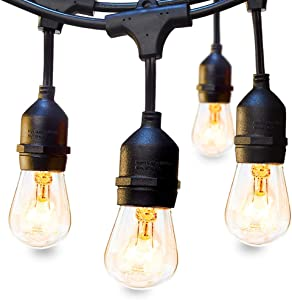 Outdoor String Lights Commercial Great Weatherproof Strand Dimmable Edison Vintage Bulbs Hanging Sockets, 42FT UL Listed Heavy-Duty Decorative Café Market Patio Lights for Bistro Garden Porch