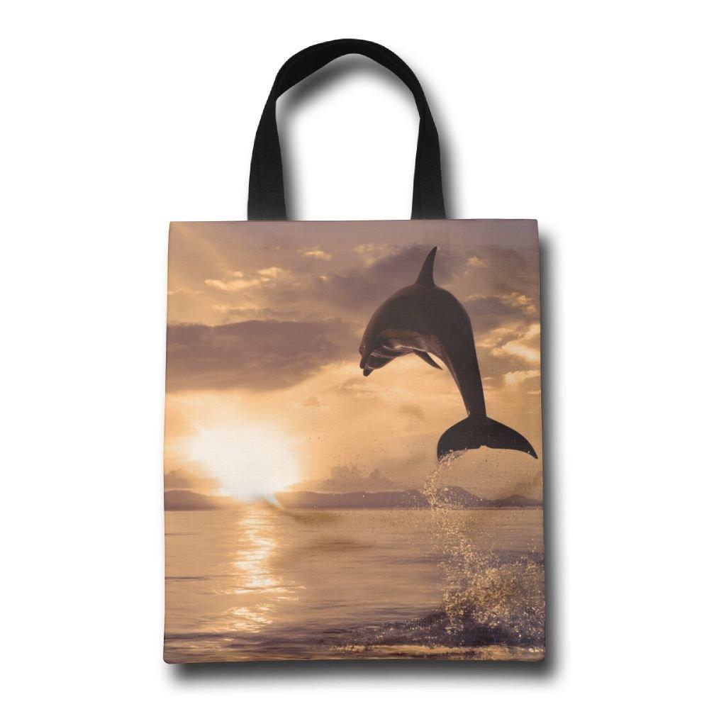 miniisoul Jumping Dolphin画像パターン再利用可能なバッグ耐久性折りたたみ式トートバッグfor旅行、ショッピング、ノートパソコン、学校Books   B07BV6KG54